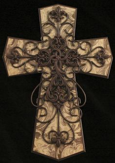 Faith Collection Multilayered Brown & Cream Cross