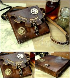 Streampunk leather bag [via izasartshop at DeviantART]