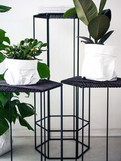 Hexagon Side Table - Love, Ana - black - metal and leather - living room essentials by utopiast.com