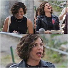Awesome Lana (Regina) laughing being funny #Once #BTS #Once #S7 E3 #TheGardenofForkingPaths #NewWestminsterBC #VancouverBC #Canada Monday 7-31-17