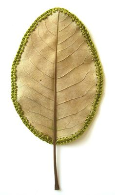 sewing around a leaf. so intensely awesome.