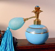 Vintage IRICE Jeweled Flower-Top Aqua Blue Opaline Glass Perfume Bottle France #Irice