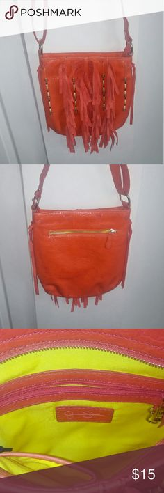 Jessica Simpson Fringe Beaded Crossbody Used Only Once, Inside is Super Clean!   Jessica Simpson Orange Leather Crossbody with Fringe & Beaded Strands in Front! Jessica Simpson Bags Crossbody Bags