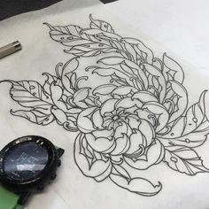 Cute Tattoos, Flower Tattoos, Tatoo Styles, Dali Tattoo, Chrysanthemum Tattoo, Fresh Tattoo, Plant Tattoo, Japan Tattoo, Oriental Tattoo