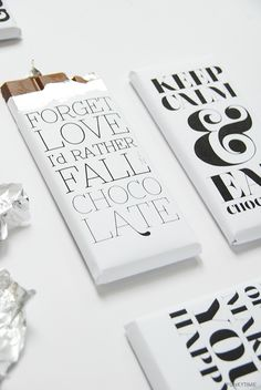 Free typographic chocolate bar wrappers