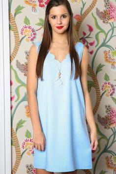 EVERLY: Fresh And Sweet Dress-Sky Blue