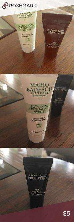 Botanical scrub and MAC prep and prime Two marvelous cream first clean face then start makeup 💄 ☺️☺️🎁👍🏻🎁 mario badascu and MAC Makeup