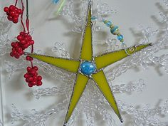 Whimsical Stained Glass Star Lemon Yellow with Blue by miloglass, $16.00