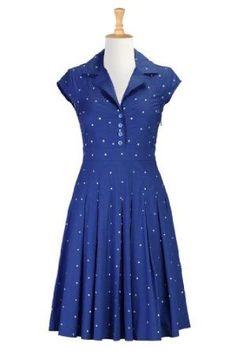 Amazon.com: eShakti Women's Dotted retro poplin shirtdress: Clothing