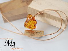 VINTAGE Natural Amber Stone on Leather - Adjustable 11389 +Certificate by myamberEU on Etsy