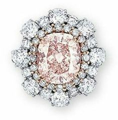 cushion-shaped fancy brownish orangy pink diamond weighing carats, within a row of light pink diamonds, to the brilliant-cut diamond undulating surround and pavé-set diamond gallery extending to the three quarter-hoop, mounted in white and rose gold White Diamond Ring, Diamond Cuts, Gold Ring, Diamond Rings, Jewelry Accessories, Jewelry Design, Colored Diamonds, Pink Diamonds, Party Rings