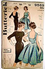 VTG 50s ROCKABILLY COCKTAIL DRESS BUTTERICK Sewing Pattern UNCUT PRINTED #9569