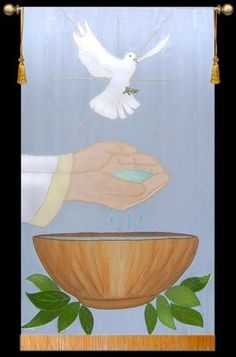 Baptism banner - Okay, so lose the bird, lose the leaves and have some water flowing from the hands into the bowl...this could be a companion banner for the existing baptism banner.  - J.S.