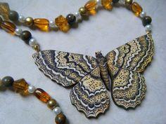 beautiful moths | Beautiful Wooden Moth Necklace