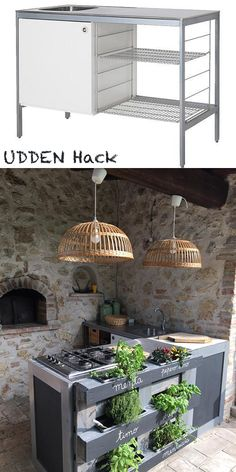 Ikea Udden kitchen hacked in outdoor kitchen with a pallet by mommodesign