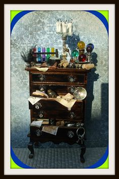 Gothic Witch Wizard Halloween dollhouse by MidnightsDreams on Etsy, $82.50