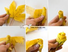 Autumn leaves in to flowers - could make make an autumn door wreath?