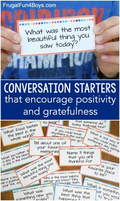 Print these free conversation starter cards! Tons of conversation starters that encourage positivity and gratefulness. Play Based Learning, Learning Activities, Kids Learning, Family Activities, Conversation Starters For Kids, Conversation Cards, Mindfulness For Kids, School Social Work, Summer Activities For Kids