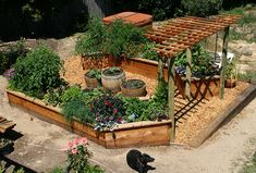 trellis with raised beds on both sides