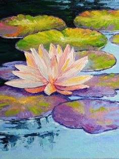 Water Lilies Painting, Lotus Painting, Pond Painting, Monet Water Lilies, Lily Painting, Oil Painting On Canvas, Canvas Art, Lotus Flower Art, Lotus Art