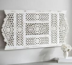 Adelaide Carved Wood Panel - POTTERY BARN - This would be great to fill up a large bare wall: above a bed, a console table or sofa. Glass Wall Art, Wood Wall Art, Wall Art Decor, The Wall Show, Black And White Dining Room, Succulent Wall Art, Mirrors For Sale, Forging Metal, Mirror Cabinets