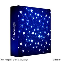 Blue Stargazer 3 Ring Binder Holiday Cards, Christmas Cards, Binder Inserts, 3 Ring Binders, Stargazer, Binder Design, Custom Binders, Christmas Card Holders