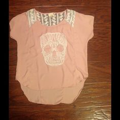 Daytrip skull top Daytrip skull top. Silky material with lace details. In great condition. Daytrip Tops