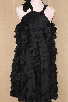 womens event dress Cynthia Rowley/ size 6/ Black/ silk/ Ties at neckline #CynthiaRowley #BubbleTiered #Formal
