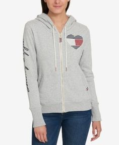 Tommy Hilfiger Embellished Fleece-Lined Hoodie, Created for Macy's - Gray S