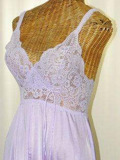 ~1970's Vintage Olga Bodysilk Nightgown  Lavender by Voilavintagelingerie, $35.00