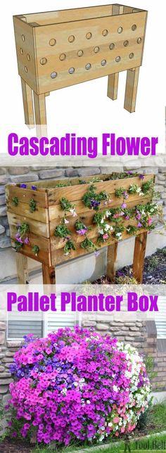 Cascading flower pallet planter box http://www.hertoolbelt.com/pallet-planter-box/