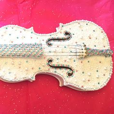 Rhinestone and Pearl Embellished Violin by DazzleDen on Etsy