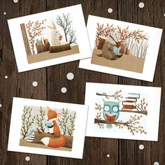 Bookish Forest Classroom Valentines Set of 30 - valentines school class kids owl bunny fox badger Forest Classroom, School Children, Kids, Bunny, Valentines, Badger, My Favorite Things, Owl, Illustrations