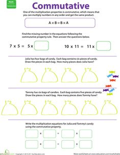 Commutative Property Of MultiplicationBrWith Arrays Worksheets