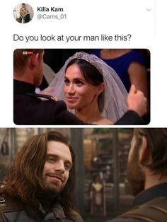 I wish I had a man or a lady to look at like that😂😂😂 Marvel Jokes, Marvel Funny, Marvel Avengers, Marvel Comics, Bucky And Steve, Bae, Stucky, Bucky Barnes, Sebastian Stan