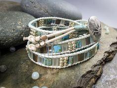 Chan Luu style wrap bracelet. Handmade wrap bracelet. Aqua-toned Japanese tila beads. 4-wrap bracelet by NimbleWitchCreative on Etsy