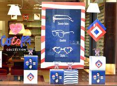 Vitrine Opticiens Maurice Frères - mai 2016 : CocoriCollection #opticiens #opticien #lunettes #sunglasses #vitrines #windows #madeinfrance #bleublancrouge