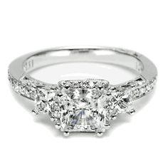 Three-stone Princess Cut Diamond Engagement ring from Tacori. *wow*