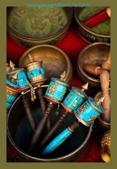 Tibetan Singing Bowls & hand held Prayer Wheels