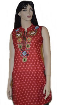 This is a red cotton kurti with floral embroidery work embellished with colorful beads over neck and white polka dots all over the body. This is perfect kurti to wear with Patiala pants. Patiala Pants, Indian Tunic, Kurtis, Floral Embroidery, Tunics, Polka Dots, Colorful, Beads, Cotton