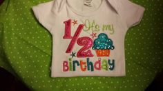 1/2 Birthday Cupcake Shirt FREE SHIPPING by SouthernBlingBowtiqu, $23.00