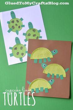 Cupcake Liner Turtles - Kid Craft