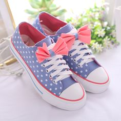 Canvas Sneaker with Bowtie Detail