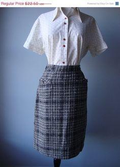 vintage wool 60s pencil skirt // black by RockThatFrock