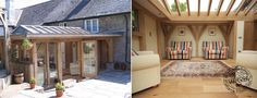 Exterior and Interior of Green Oak Timber Framed Extension with Roof Lantern in Cornwall by Carpenter Oak Ltd Devon Oak Framed Extensions, House Extensions, Barn Conversion Exterior, Barn Conversions, What Is An Orangery, Cottage Extension, Roof Lantern, Screened In Porch, Decoration