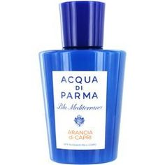 Acqua Di Parma Acqua Di Parma Blu Mediterraneo Arancia Di Capri Body Lotion 6.7 oz by Acqua Di Parma. $67.25. Fragrance Notes: vetiver, citron, red ginger, italian Bergamot, cedarwood. Design House: Acqua Di Parma. A symbol of the Italian Mediterranean and the island of Capri, this fragrance is sunny, relaxing, and carefree. In the air, hints of Italian citrus and the warm aroma of caramel blend together to create a pure moment of bliss, just like being on vacatio...