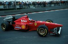 Michael Schumacher driving in his debut year for Ferrari back in 1996 (Belgian Grand Prix at Spa - Ferrari Racing, Ferrari F1, F1 Racing, Michael Schumacher Ferrari, Le Mans, Belgian Grand Prix, Formula 1 Car, Benetton, Fast Cars