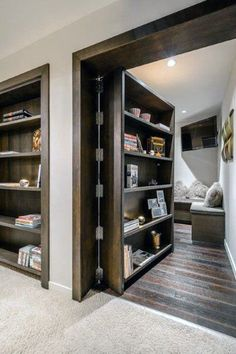 Ever had the desire to have a secret room at home? Each secret room must also have an entrance or a hidden door to go to the secret room. Usually, a hidden door leads to a different secret room. Bookcase Door, Basement Remodeling, Remodeling Ideas, Basement Ideas, Basement Bars, Basement Ceilings, High Ceilings, Room Doors, Decoration Design