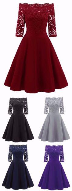 Lace Panel Off The Shoulder Vintage Flare Dress