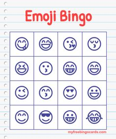 Test your emoji knowledge with this free emoji bingo game. Ready to print off or play on your mobile right away.